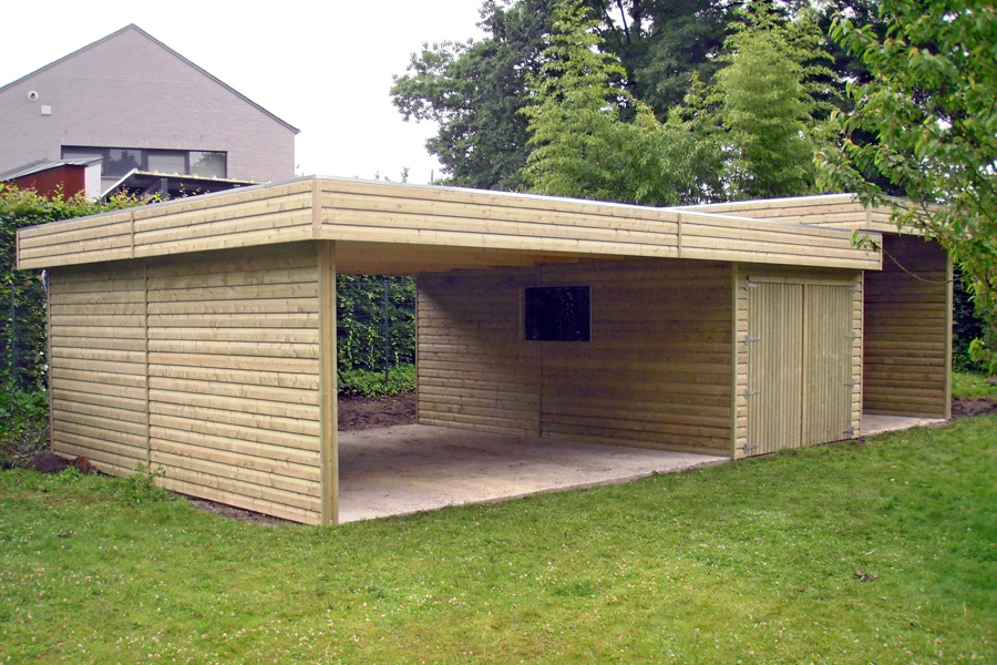 Comment monter un carport en bois for Garage en bois a toit plat