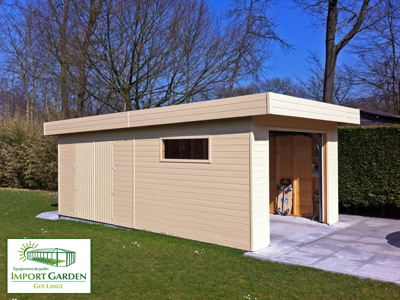 Garage bois toit plat design contemporain import garden for Garage toit plat bois