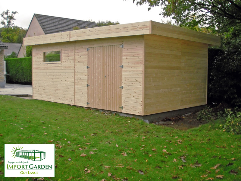 Garage bois toit plat design contemporain concept abri for Garage en bois a toit plat