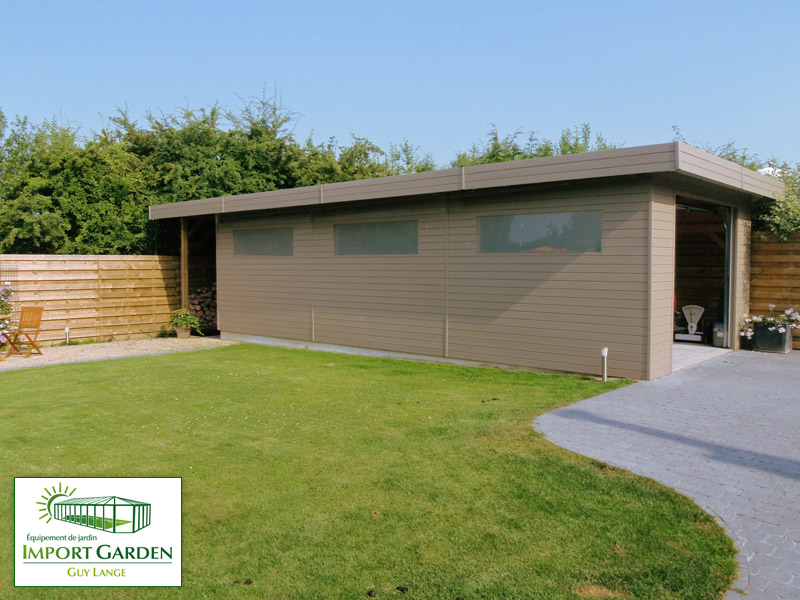 Garage bois toit plat design contemporain import garden for Imposition garage ou abri de jardin