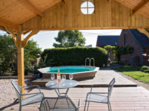 terrasse piscine sous auvent pool house Concept Abri cottage